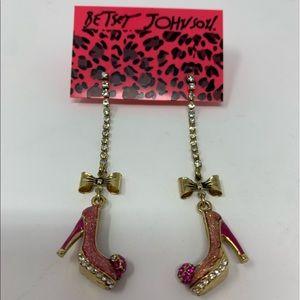 NWT Betsey Johnson Long Pink Earrings